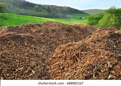 Wood chips on pile woodchips