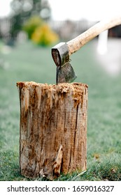 The wood chopper sticks out in wooden hemp. Ax and ax handle. Woodworking. Deforestation by a sharp axe. Ax to chop wood. Rusty but very sharp forester's ax or carpenter's axe.