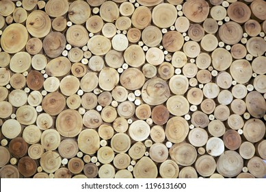 Wood circles pattern of cutted tree trunks. The round pieces are of different sizes. Abstract background