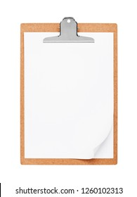 Wood clipboard with blank paper isolated on a white background, included clipping path