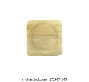 Wood coaster square for coffee cup top view