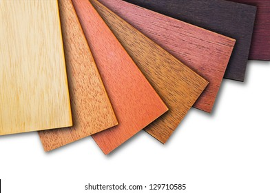 Wood color guide, samples of wood choice on white background.