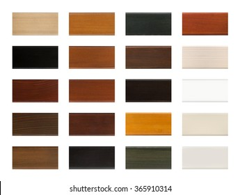 Wood color sample swatch chart isolated on white with clipping path