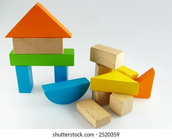 Wood color toy blocks  on the white background