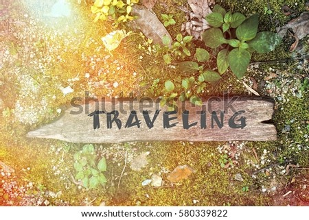 wood concept word traveling stock photo edit now 580339822