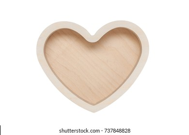 Wood container, heart shape isolated on white background. Top view.