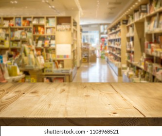 wood counter table top front of liblary or book shop. use for display book product concept.