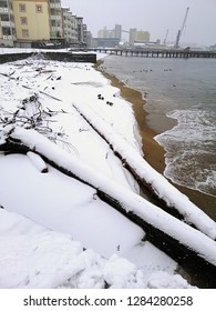 Wood covered by snow lying on the shore during a winter day. The harbor of Larvik (Norway) seen from the beach.