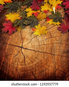 Wood Covered in Leaves Background