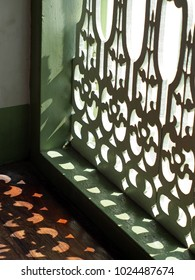 wood crafts terrace decoration with colonial art style pattern on historic architecture under natural lighting selective focus show beautiful cutting edges light and and shadows on the floor