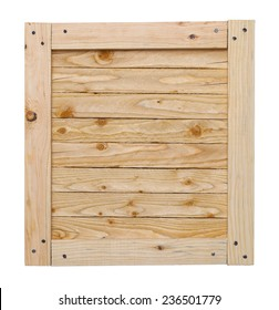 Wood Crate Lid With Copy Space Isolated on White Background.