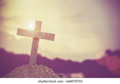 Wood cross or religion symbol shape over wood  background for God, Christ, Christianity, religious, faith, holy, spiritual, Jesus, belief or resurrection, dust as christian religion,
