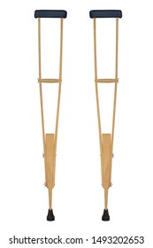 Wood crutches or walking stick for  Leg pain on white background