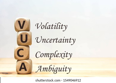 Wood cube VUCA alphabet on wooden table wooden white background. Concept abbreviation VUCA block wooden , Volatility, uncertainty, complexity, ambiguity.