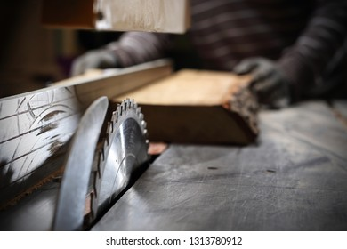 Wood cuting. Carpentry workshop.