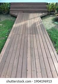 wood deck in a garden