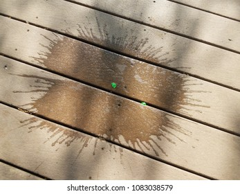 wood deck with water from where water balloon burst