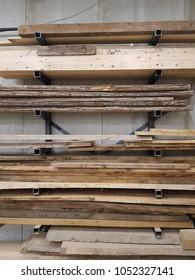 Wood deposited in a wood workshop.
