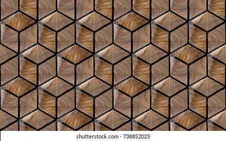 Wood design 3d texture with black decor. Material wood walnut and black plastic. High quality seamless realistic texture.