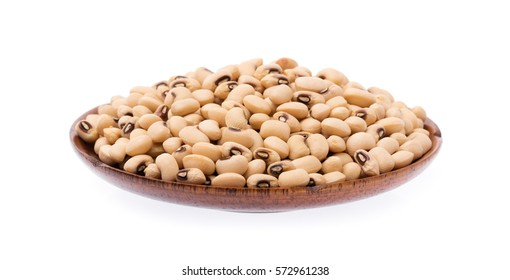 wood dish of Soy beans isolated on white background