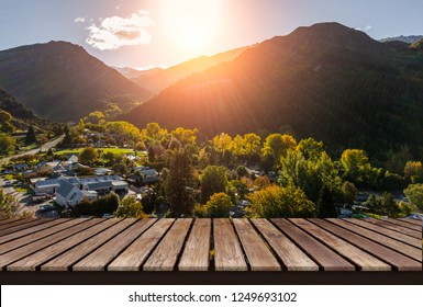 wood display shelf on Top view of Arrowtown background in New Zealand