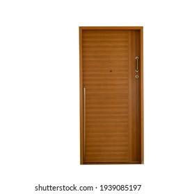 Wood door close on white background