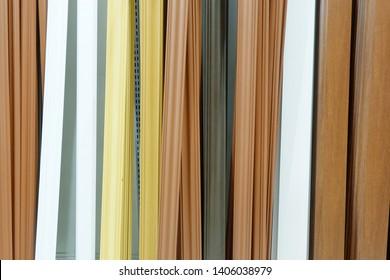 A lot wood door frame arranged background.