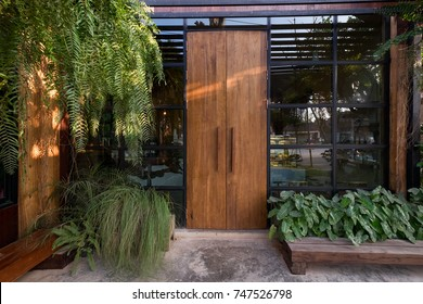 Wood door and frame glass of window with tree leave vine hanging in the garden