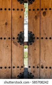 wood door with old rust steel pin japan asian style open
