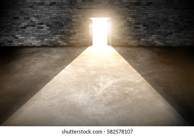 Wood doors opening with old cement wall and light coming in. background of old vintage white brick