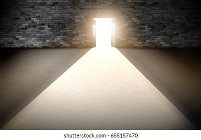 Wood doors opening with old cement wall and light coming in. background of old vintage white brick.