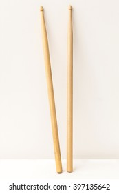 Wood Drumsticks isolated in white background.
