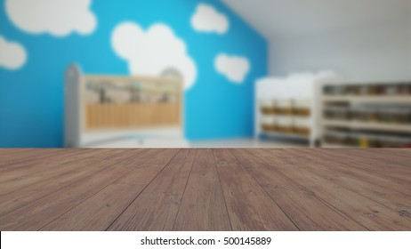 Wood empty surface and baby room as background (3D Rendering)