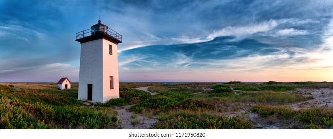 Wood End lighthouse during sunset in Provincetown, Massachusetts, USA. Panoramoc view