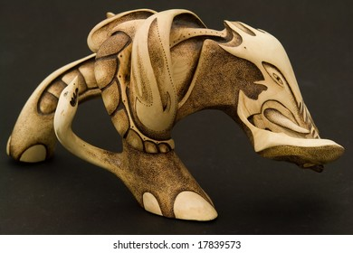 Wood engraving. Beautiful elephant on a black background.