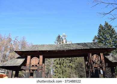 Wood entrance gate from Sambata de Sus Monastery in Transylvania, Romania