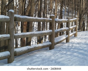 wood fence snow forest winter