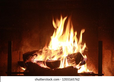 Wood Fire in fireplace