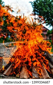 Wood in fire! Fire for an open-air barbecue! Beautiful photograpy!