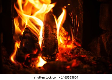 Wood in fire outdoor, night time