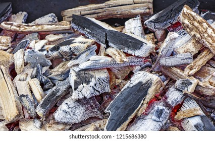 Wood fire, texture embers after a fire