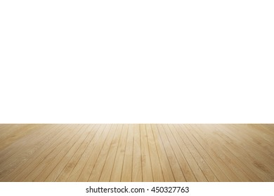 wood floor isolated. Wood floor textured pattern background. empty white wall backdrop: Isolated wooden floor on white colour toned background