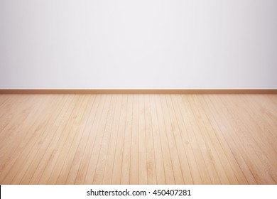wood floor isolated. Wood floor textured pattern background. empty white wall backdrop: Isolated wooden floor on white colour toned background. Oak wood floor with white wall