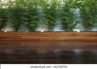 Wood floor over background beautiful modern decorative garden design.