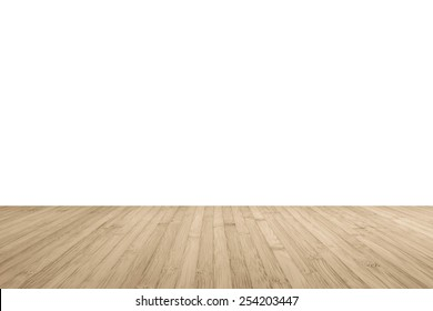 wood floor perspective. Wood Floor Perspective View With Wooden Texture In Light Brown Color Isolated On White Wall Background