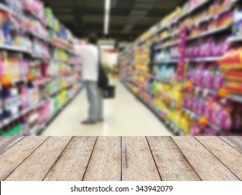 Wood floor and Supermarket blur background, Product display