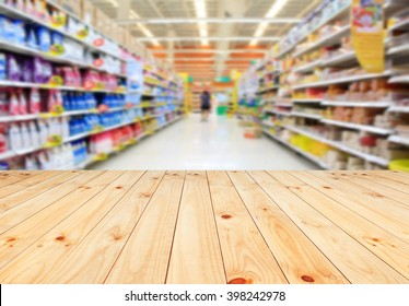 Wood floor and Supermarket blur background, Product display, template,