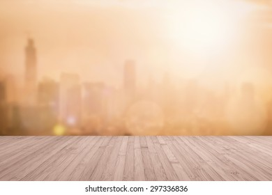 Wood floor terrace or wooden table with blur background rooftop perspective view city night light bokeh