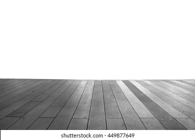 Wood floor texture in light color tone isolated on white background. nature good Perspective warm wooden floor texture. Empty room with wall and wooden floor. Art Wood Design Element Painte isolated