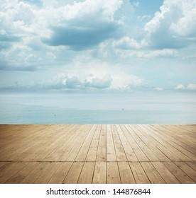 wood floor under sunny sky